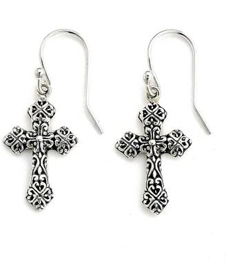 Samuel B. Sterling Silver Filigree Cross Dangle Earrings