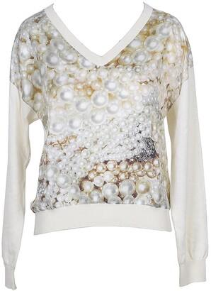 Moschino Pearl Print Print Silk Women's V-Neck Sweater
