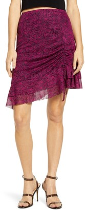 4SI3NNA the Label Terry Ruched Ruffle Hem Skirt