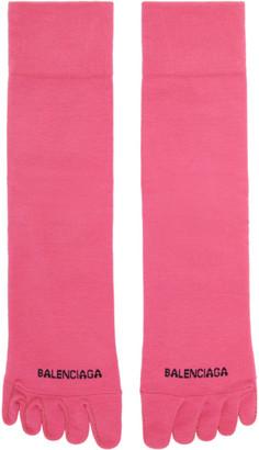 Balenciaga Pink Logo Toe Socks