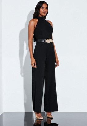 Missguided Black Tailored Waterfall Back Detail Belted Playsuit