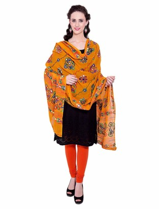 Vastraa Fusion Dupatta/Stole Cotton for Women Design With Thread Work Embroidery Traditional Aari Chakachak Work - Red Colour