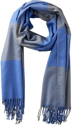Tickled Pink Accessories Carter Colorblocking Plaid Soft Cashmere Feel Wool Scarf with Tassels Blue and Gray 71x25.5