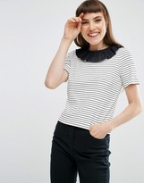 Asos Top with Frill Neck In Stripe Rib