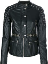 Just Cavalli eyelets embellished leather jacket