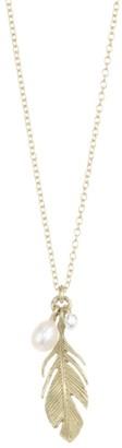 Annette Ferdinandsen Fauna Feather Diamond & Pearl Pendant Necklace