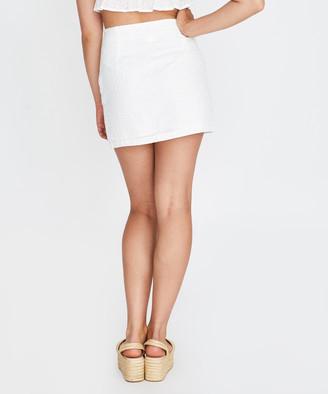 Don't Ask Amanda Broderie Button Split Skirt White
