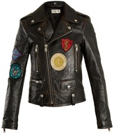 Saint Laurent Embroidered shrunken-fit leather biker jacket
