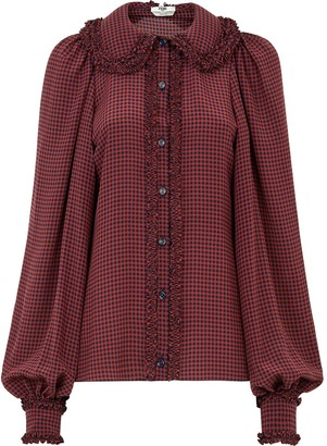 Fendi Button-Front Gingham Blouse