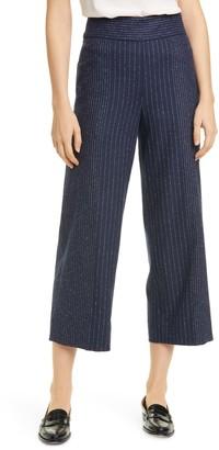 Tailored by Rebecca Taylor Metallic Pinstripe Wide Leg Crop Pants