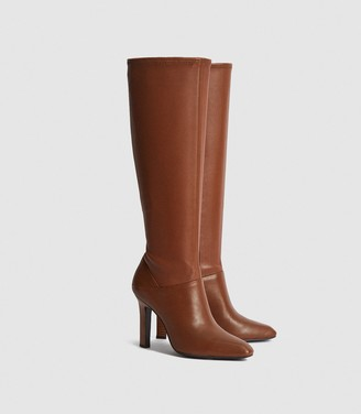 Reiss Cressida - Leather Knee High Boots in Caramel