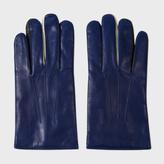 Paul Smith Men's Dark Blue Leather Concertina Gloves