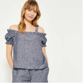 Joe Fresh Women's Off-the-Shoulder Blouse, Indigo (Size XS)