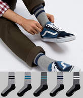 Asos Sport Socks In Gray With Twists & Branded Sole 5 Pack