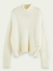 Maison Scotch High Neck Alpaca Blend Knit Cardigan Icy White - XS