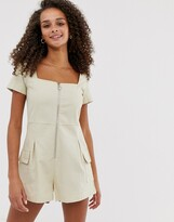 Daisy Street utility romper with ring pull