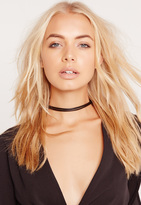 Missguided Double Layer Faux Leather Choker Necklace Black