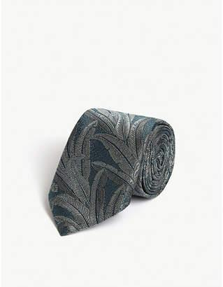 Ted Baker Jacquard leaf print silk tie