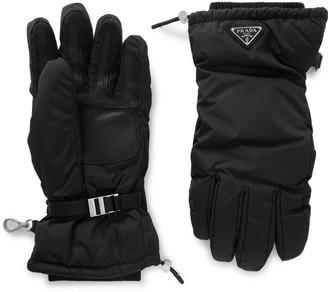 Prada Logo-Appliqued Leather-Trimmed Padded Shell Ski Gloves