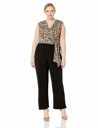 Tiana B T I A N A B. Women's Size Plus Animal Print top Jumpsuit