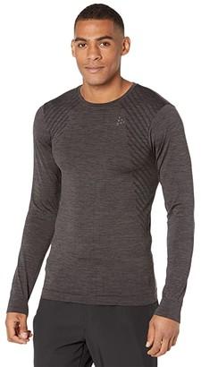 Craft Fuseknit Comfort Round Neck Long Sleeve (Black Melange 2) Men's Clothing
