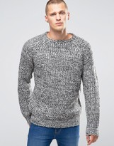 Brave Soul Marl Knit Sweater with Elbow Patches