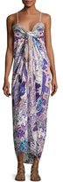 Camilla Embellished Tie-Front Maxi Dress, Purple Multicolor