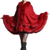 Win8Fong Women's Soft Long Knitted Fur Bolero Shawl Stole Cloak Winter Warm Cape Coat