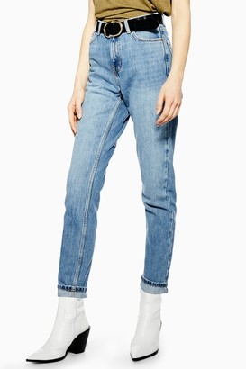 Topshop Mid Blue Wash Mom Tapered Jeans