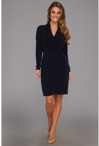 Vince Camuto Collared Faux Wrap Dress W/ Waist Tie (Navy) - Apparel