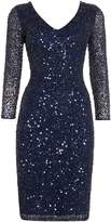 JS Collections All over sequin V neck dress
