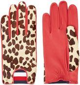 Tommy Hilfiger Leopard Leather Print Gloves