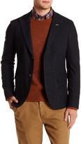 Gant Blue Speck Two Button Peak Lapel Wool Blend Donegal Blazer