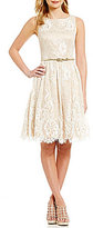 Eliza J Fit-and-Flare Belted Lace Dress