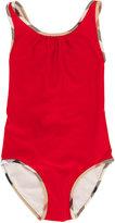 Burberry check trim swimsuit - kids - Polyester/Spandex/Elastane/Polyamide-8 - 4 yrs