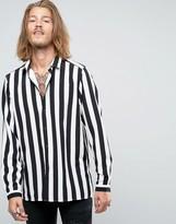 Asos Viscose Shirt In Monochrome Stripe
