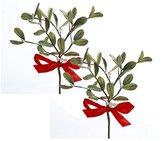 Kurt Adler Artificial Mistletoe Floral Pick With Red Satin Bow, Set of 2