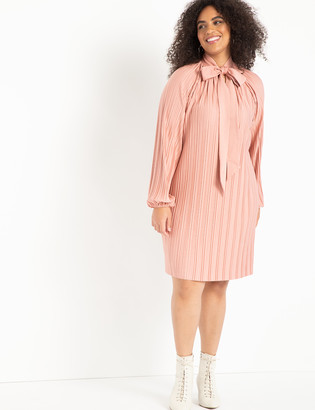 ELOQUII Pleated Knit Tie Neck Mini Dress