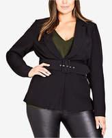 City Chic Trendy Plus Size Belted Blazer