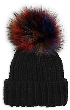 Kyi Kyi Knitted Faux Fur Pom Pom Hat
