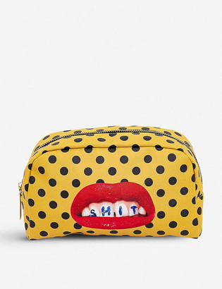 Seletti Toiletpaper Sh*t print faux-leather beauty case
