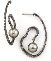 Black Diamond Eli Jewels Gray Pearl & Spiral Earrings