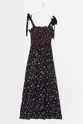 Nasty Gal Womens Bunny Tie Ditsy Floral Maxi Dress - Black - S, Black
