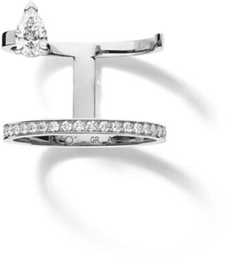 Repossi White Gold Serti Sur Vide Pear Diamond Ring
