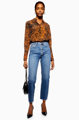 Topshop Indigo Button Fly Straight Jeans