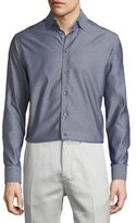 Eton Mini-Houndstooth Long-Sleeve Sport Shirt, Gray