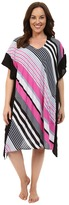 DKNY Plus Size City Stripe Caftan