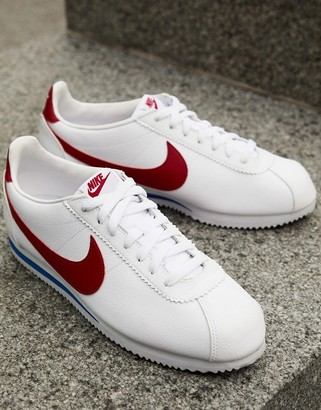 Nike Cortez leather sneakers in white with red swoosh
