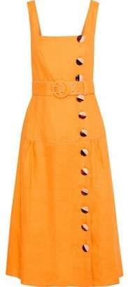 Nicholas Belted Button-detailed Linen Midi Dress