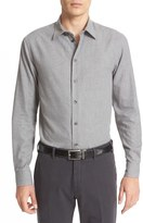Armani Collezioni Trim Fit Flannel Cotton Sport Shirt